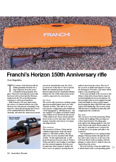 Franchi's Horizon 150th Anniversary Rifle by SSAA