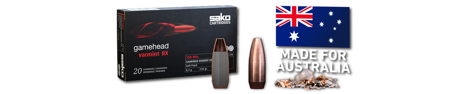 SAKO CARTRIDGES GAMEHEAD VARMINT RX